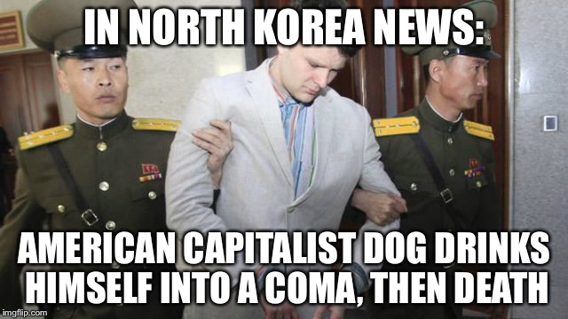 A commentary on repressive regime news | IN NORTH KOREA NEWS: AMERICAN CAPITALIST DOG DRINKS HIMSELF INTO A COMA, THEN DEATH | image tagged in otto warmbier,funny,memes | made w/ Imgflip meme maker