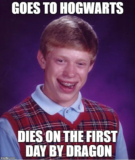 Bad Luck Brian Meme | GOES TO HOGWARTS DIES ON THE FIRST DAY BY DRAGON | image tagged in memes,bad luck brian | made w/ Imgflip meme maker