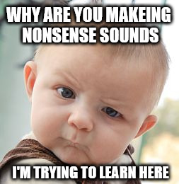 Talking like a baby to a baby | WHY ARE YOU MAKEING NONSENSE SOUNDS I'M TRYING TO LEARN HERE | image tagged in memes,skeptical baby,stupid,learn | made w/ Imgflip meme maker