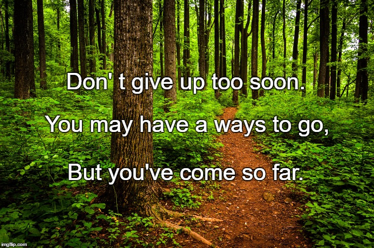 forest path | Don' t give up too soon. But you've come so far. You may have a ways to go, | image tagged in forest path | made w/ Imgflip meme maker