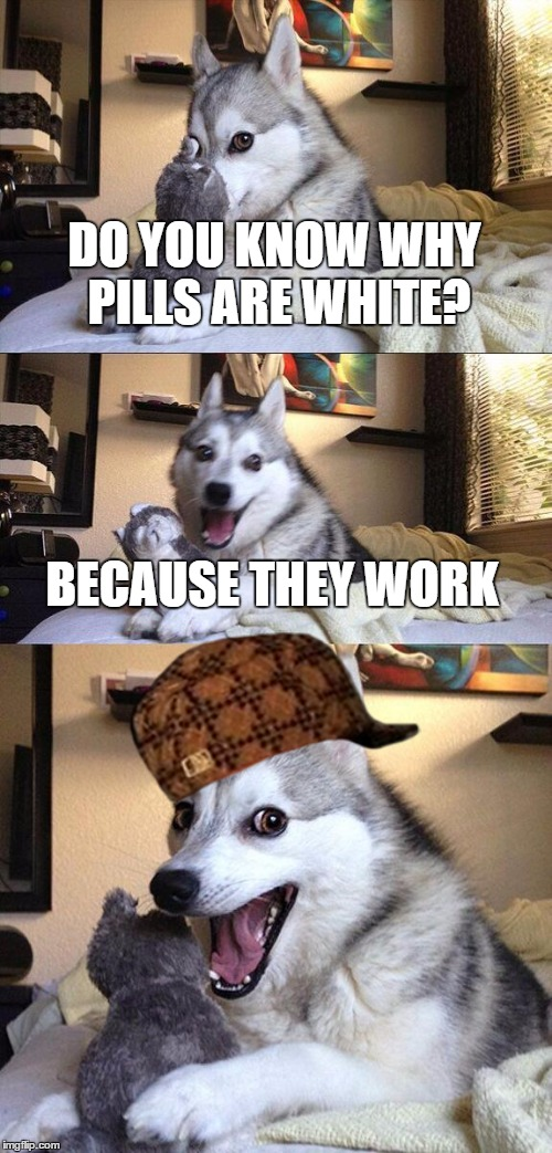 Too racist? Too bad.....I'm sorry | DO YOU KNOW WHY PILLS ARE WHITE? BECAUSE THEY WORK | image tagged in memes,bad pun dog,scumbag | made w/ Imgflip meme maker