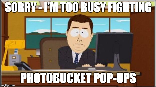 SORRY - I'M TOO BUSY FIGHTING PHOTOBUCKET POP-UPS | made w/ Imgflip meme maker