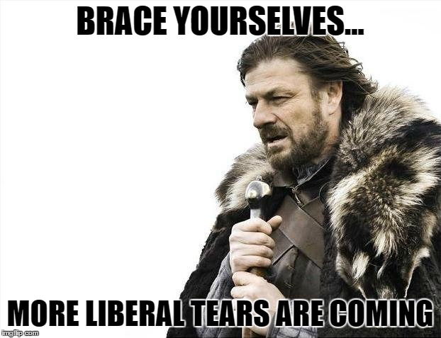 Brace Yourselves X is Coming Meme | BRACE YOURSELVES... MORE LIBERAL TEARS ARE COMING | image tagged in memes,brace yourselves x is coming | made w/ Imgflip meme maker