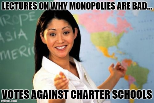 Unhelpful High School Teacher Meme | LECTURES ON WHY MONOPOLIES ARE BAD... VOTES AGAINST CHARTER SCHOOLS | image tagged in memes,unhelpful high school teacher | made w/ Imgflip meme maker