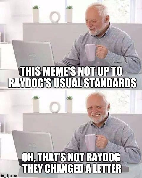 Hide the Pain Harold Meme | THIS MEME'S NOT UP TO RAYDOG'S USUAL STANDARDS OH, THAT'S NOT RAYDOG THEY CHANGED A LETTER | image tagged in memes,hide the pain harold | made w/ Imgflip meme maker