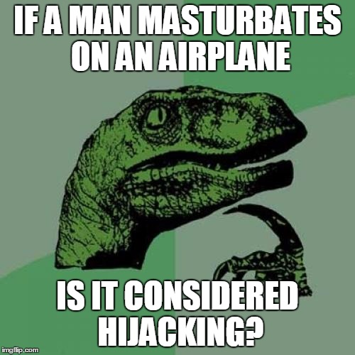 Philosoraptor Meme | IF A MAN MASTURBATES ON AN AIRPLANE IS IT CONSIDERED HIJACKING? | image tagged in memes,philosoraptor | made w/ Imgflip meme maker