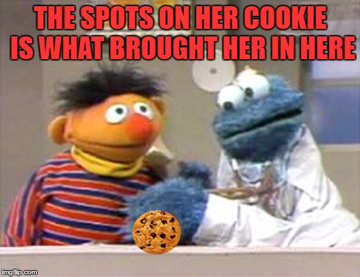 THE SPOTS ON HER COOKIE IS WHAT BROUGHT HER IN HERE | made w/ Imgflip meme maker