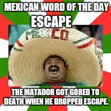 Mexican Fiesta | MEXICAN WORD OF THE DAY THE MATADOR GOT GORED TO DEATH WHEN HE DROPPED ESCAPE. ESCAPE | image tagged in mexican fiesta | made w/ Imgflip meme maker