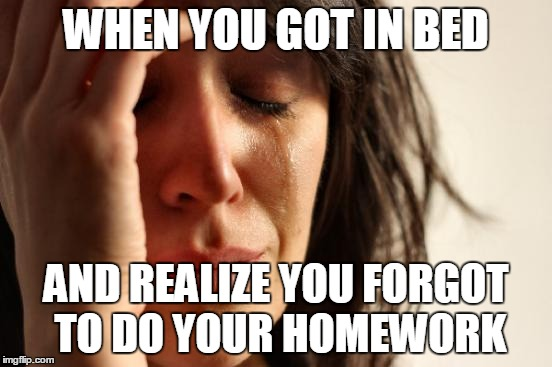 First World Problems Meme | WHEN YOU GOT IN BED AND REALIZE YOU FORGOT TO DO YOUR HOMEWORK | image tagged in memes,first world problems | made w/ Imgflip meme maker