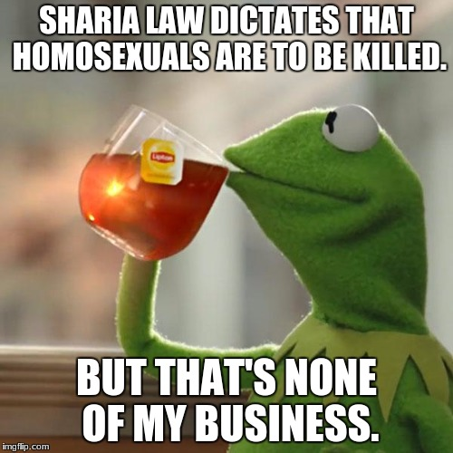 The gays are either suicidal or dumber than I thought if they're /actually/ supporting sharia law. | SHARIA LAW DICTATES THAT HOMOSEXUALS ARE TO BE KILLED. BUT THAT'S NONE OF MY BUSINESS. | image tagged in memes,but thats none of my business,lgbt,lgbtq,gay,islam | made w/ Imgflip meme maker