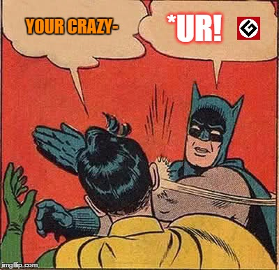 Batman Slapping Robin Meme | YOUR CRAZY- *UR! | image tagged in memes,batman slapping robin | made w/ Imgflip meme maker