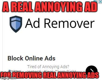 ad remover | A REAL ANNOYING AD FOR REMOVING REAL ANNOYING ADS | image tagged in online | made w/ Imgflip meme maker