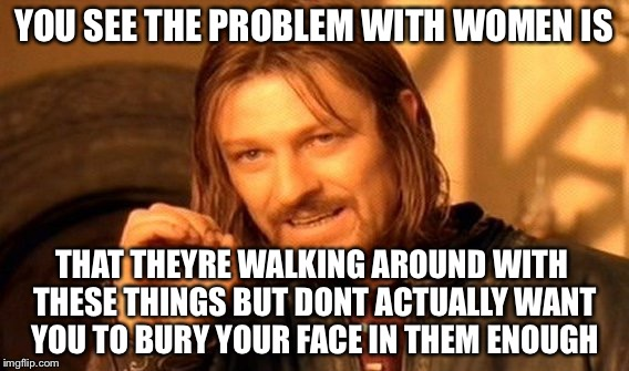 One Does Not Simply Meme | YOU SEE THE PROBLEM WITH WOMEN IS THAT THEYRE WALKING AROUND WITH THESE THINGS BUT DONT ACTUALLY WANT YOU TO BURY YOUR FACE IN THEM ENOUGH | image tagged in memes,one does not simply | made w/ Imgflip meme maker