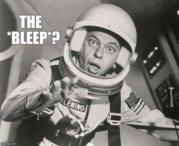 Don Knotts, Reluctant Astronaut afloat,,, | THE   *BLEEP*? | image tagged in don knotts,reluctant astronaut afloat | made w/ Imgflip meme maker