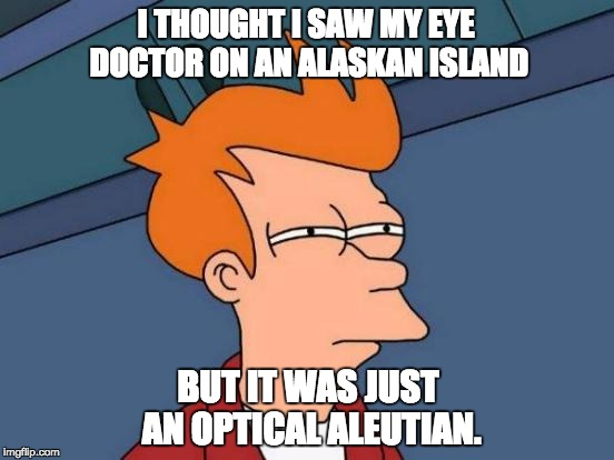 Futurama Fry Meme | I THOUGHT I SAW MY EYE DOCTOR ON AN ALASKAN ISLAND BUT IT WAS JUST AN OPTICAL ALEUTIAN. | image tagged in memes,futurama fry | made w/ Imgflip meme maker