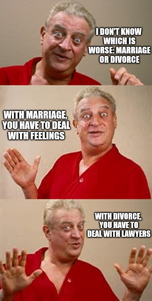 Guys can understand this | I DON'T KNOW WHICH IS WORSE: MARRIAGE OR DIVORCE WITH MARRIAGE, YOU HAVE TO DEAL WITH FEELINGS WITH DIVORCE, YOU HAVE TO DEAL WITH LAWYERS | image tagged in bad pun dangerfield,marriage,divorce,feelings,lawyers | made w/ Imgflip meme maker