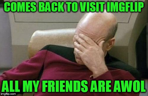 Captain Picard Facepalm Meme | COMES BACK TO VISIT IMGFLIP ALL MY FRIENDS ARE AWOL | image tagged in memes,captain picard facepalm | made w/ Imgflip meme maker