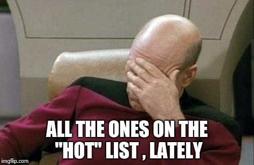 "Captain Picard Facepalm Meme | ALL THE ONES ON THE ""HOT"" LIST , LATELY 