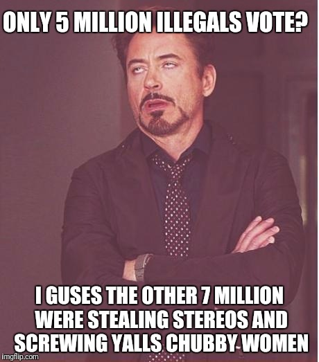 Face You Make Robert Downey Jr Meme | ONLY 5 MILLION ILLEGALS VOTE? I GUSES THE OTHER 7 MILLION WERE STEALING STEREOS AND SCREWING YALLS CHUBBY WOMEN | image tagged in memes,face you make robert downey jr | made w/ Imgflip meme maker
