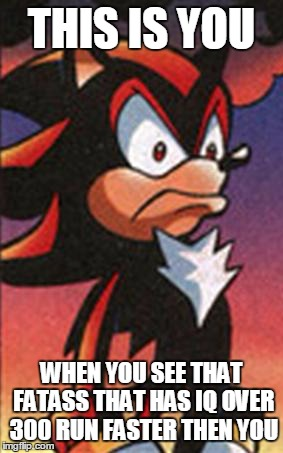 SONIC FANBASE REACTION | THIS IS YOU WHEN YOU SEE THAT FATASS THAT HAS IQ OVER 300 RUN FASTER THEN YOU | image tagged in sonic fanbase reaction | made w/ Imgflip meme maker