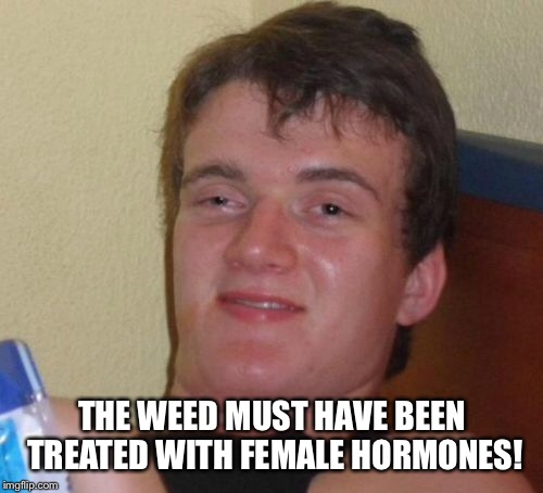 10 Guy Meme | THE WEED MUST HAVE BEEN TREATED WITH FEMALE HORMONES! | image tagged in memes,10 guy | made w/ Imgflip meme maker
