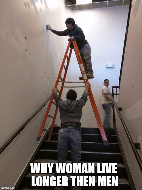 why woman live longer then men  | WHY WOMAN LIVE LONGER THEN MEN | image tagged in funny memes,funny,memes | made w/ Imgflip meme maker