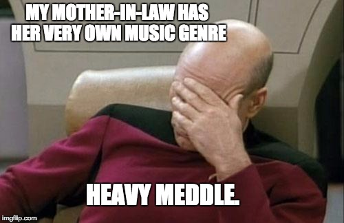 Captain Picard Facepalm Meme | MY MOTHER-IN-LAW HAS HER VERY OWN MUSIC GENRE HEAVY MEDDLE. | image tagged in memes,captain picard facepalm | made w/ Imgflip meme maker