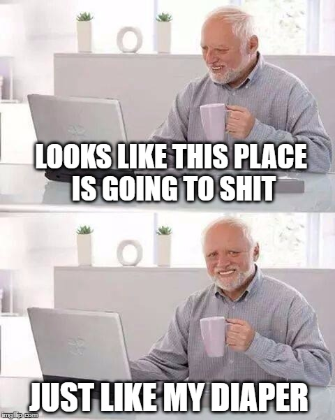 LOOKS LIKE THIS PLACE IS GOING TO SHIT JUST LIKE MY DIAPER | image tagged in hide the pain harold,diapers,incontinence,nsfw filth week | made w/ Imgflip meme maker