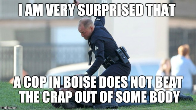 Cop Beating | I AM VERY SURPRISED THAT A COP IN BOISE DOES NOT BEAT THE CRAP OUT OF SOME BODY | image tagged in cop beating | made w/ Imgflip meme maker