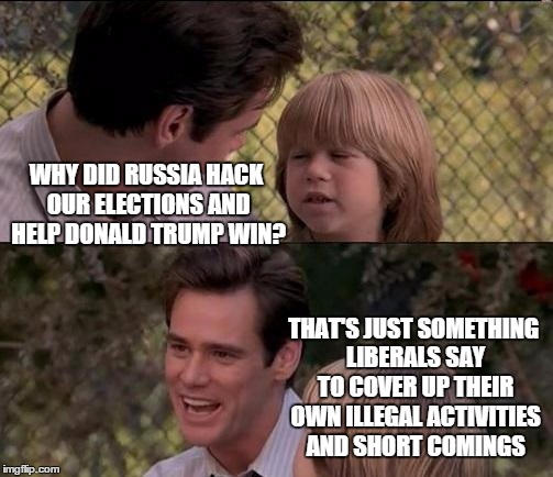 Thats Just Something X Say Meme | WHY DID RUSSIA HACK OUR ELECTIONS AND HELP DONALD TRUMP WIN? THAT'S JUST SOMETHING LIBERALS SAY TO COVER UP THEIR OWN ILLEGAL ACTIVITIES AND | image tagged in memes,thats just something x say | made w/ Imgflip meme maker