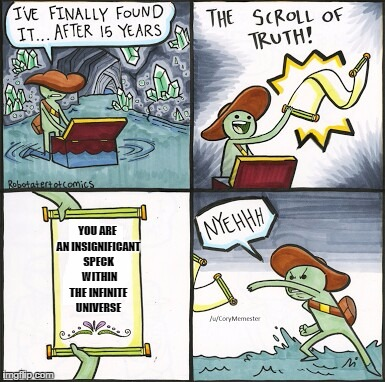 The Scroll Of Truth Meme | YOU ARE AN INSIGNIFICANT SPECK  WITHIN THE INFINITE UNIVERSE | image tagged in the scroll of truth | made w/ Imgflip meme maker