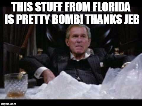 THIS STUFF FROM FLORIDA IS PRETTY BOMB! THANKS JEB | made w/ Imgflip meme maker