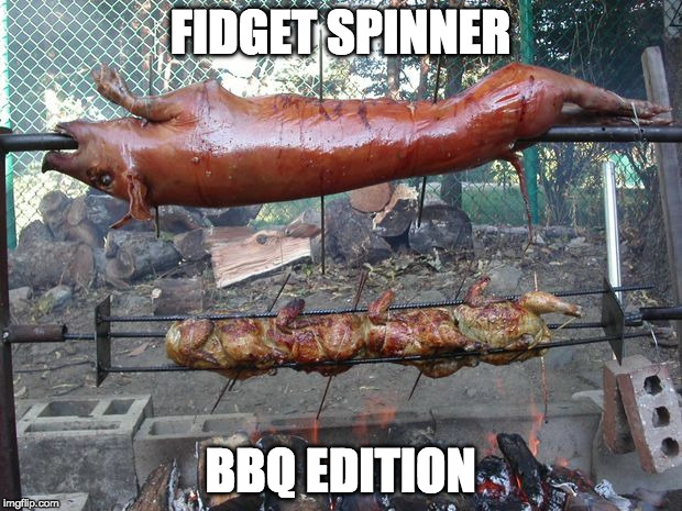 Finally! A fidget spinner I want. | FIDGET SPINNER BBQ EDITION | image tagged in fidget spinner,pork roast,spinner,pigs | made w/ Imgflip meme maker