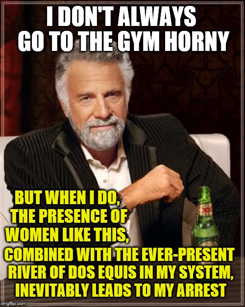 I DON'T ALWAYS GO TO THE GYM HORNY BUT WHEN I DO, THE PRESENCE OF WOMEN LIKE THIS, COMBINED WITH THE EVER-PRESENT RIVER OF DOS EQUIS IN MY S | made w/ Imgflip meme maker