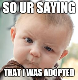 Skeptical Baby Meme | SO UR SAYING THAT I WAS ADOPTED | image tagged in memes,skeptical baby | made w/ Imgflip meme maker