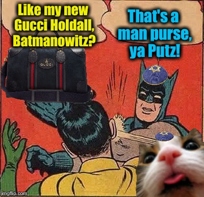 Batmanowitz and Fluffy Slapping Robin | Like my new Gucci Holdall, Batmanowitz? That's a man purse, ya Putz! | image tagged in memes,batman slapping robin,evilmandoevil,funny,fluffy | made w/ Imgflip meme maker