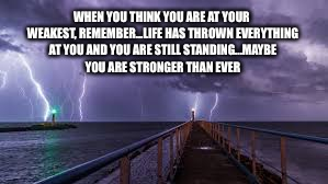 WHEN YOU THINK YOU ARE AT YOUR WEAKEST, REMEMBER...LIFE HAS THROWN EVERYTHING AT YOU AND YOU ARE STILL STANDING...MAYBE YOU ARE STRONGER THA | image tagged in life | made w/ Imgflip meme maker