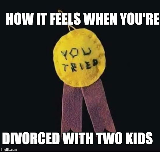 HOW IT FEELS WHEN YOU'RE DIVORCED WITH TWO KIDS | image tagged in participation ribbon | made w/ Imgflip meme maker