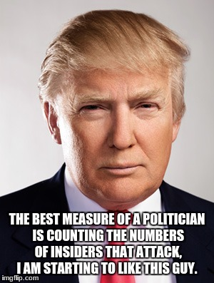 Donald Trump | THE BEST MEASURE OF A POLITICIAN IS COUNTING THE NUMBERS OF INSIDERS THAT ATTACK, I AM STARTING TO LIKE THIS GUY. | image tagged in donald trump | made w/ Imgflip meme maker