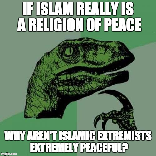 Philosoraptor Meme | IF ISLAM REALLY IS A RELIGION OF PEACE WHY AREN'T ISLAMIC EXTREMISTS EXTREMELY PEACEFUL? | image tagged in memes,philosoraptor | made w/ Imgflip meme maker