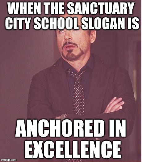 Face You Make Robert Downey Jr Meme | WHEN THE SANCTUARY CITY SCHOOL SLOGAN IS ANCHORED IN EXCELLENCE | image tagged in memes,face you make robert downey jr,sanctuary cities | made w/ Imgflip meme maker