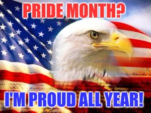In a nutshell | PRIDE MONTH? I'M PROUD ALL YEAR! | image tagged in american flag,pride | made w/ Imgflip meme maker
