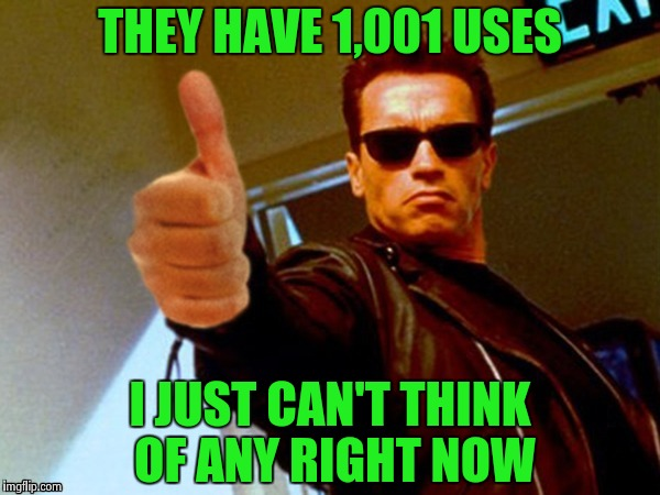 Arnold likes it | THEY HAVE 1,001 USES I JUST CAN'T THINK OF ANY RIGHT NOW | image tagged in arnold likes it | made w/ Imgflip meme maker