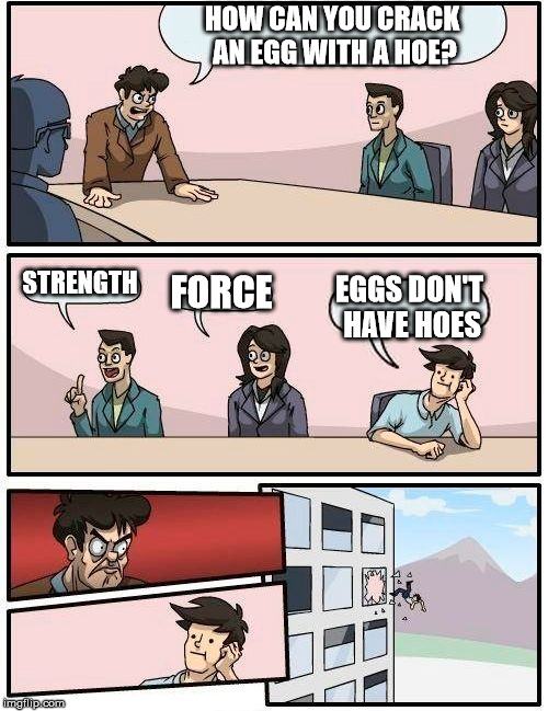 Eggs | HOW CAN YOU CRACK AN EGG WITH A HOE? STRENGTH FORCE EGGS DON'T HAVE HOES | image tagged in memes,boardroom meeting suggestion | made w/ Imgflip meme maker