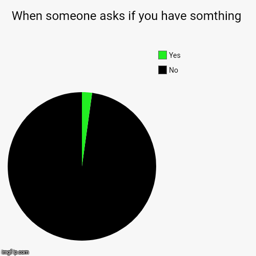 When someone asks if you have somthing | No, Yes | image tagged in funny,pie charts | made w/ Imgflip pie chart maker