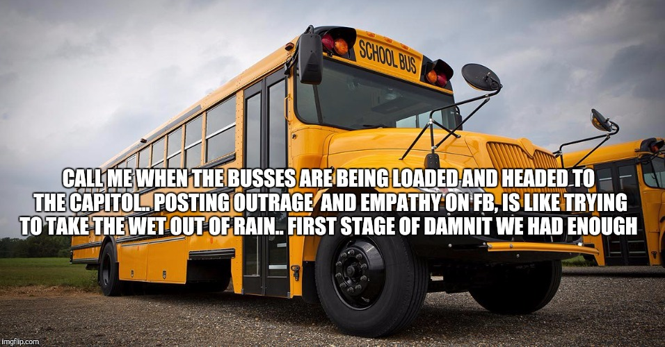 School Bus | CALL ME WHEN THE BUSSES ARE BEING LOADED AND HEADED TO THE CAPITOL.. POSTING OUTRAGE  AND EMPATHY ON FB, IS LIKE TRYING TO TAKE THE WET OUT  | image tagged in school bus | made w/ Imgflip meme maker