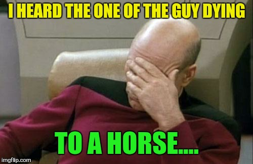 Captain Picard Facepalm Meme | I HEARD THE ONE OF THE GUY DYING TO A HORSE.... | image tagged in memes,captain picard facepalm | made w/ Imgflip meme maker