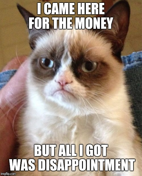 Grumpy Cat Meme | I CAME HERE FOR THE MONEY BUT ALL I GOT WAS DISAPPOINTMENT | image tagged in memes,grumpy cat | made w/ Imgflip meme maker