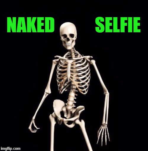NAKED            SELFIE | image tagged in skeletons-o-fun | made w/ Imgflip meme maker