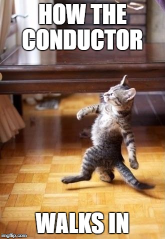 Cool Cat Stroll Meme | HOW THE CONDUCTOR WALKS IN | image tagged in memes,cool cat stroll | made w/ Imgflip meme maker